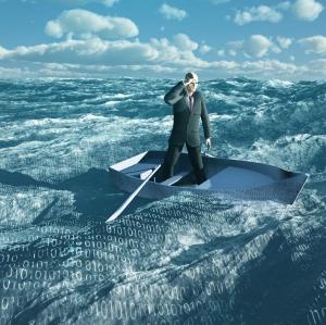Man Adrift in tiny baot in binary ocean
