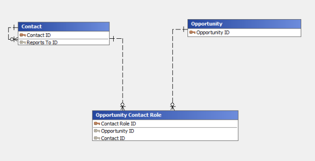 Safyr ERDiagrammer model of the Opportunity Contact Role intersection table